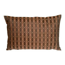 Pillow Decor - Pillow Decor - Manhattan Stripes in Brown and Black Rectangular Throw Pillow - Achieve a clean and classic look with this versatile throw pillow. A delicate diamond pattern in orange, cream and light brown is overlayed on top of stricking brown and espresso black striped background. This pillow lends itself to a wide range of decorative styles. It can be used to dress up a formal living room but would be just as at home in a family room, den or bedroom.