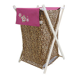 Trend Lab - Trend Lab Berry Leopard Crib Bedding Set - Hamper - The Berry Leopard Hamper by Trend Lab is a decorative solution for quick clean up. The leopard print velour body and solid outer flap easily attaches to the collapsible pine wood frame. The fashionable color palette of tan deep mahogany and berry pink make this hamper suitable for any room of the house. A floral embroidery adds the finishing touch! Machine washable inner mesh liner is removable making the transport of laundry effortless. Assembled hamper measures 27 in x 15 in x 15 in. This hamper coordinates with the Berry Leopard collection.