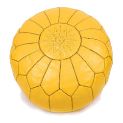 Moroccan Leather Pouf Ottomans by Fez Art - Moroccan poufs are a favorite trend of mine, and I brought one of these beauties home from Morocco — in yellow, too!