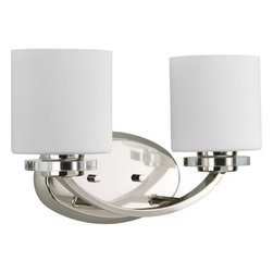 Thomasville Lighting - Thomasville Lighting P2013-104 Nisse 2 Light Bathroom Fixture - Thomasville Lighting P2013-104 Two Light Nisse Bathroom FixtureFeaturing the best of classic forms and contemporary sensibilities, this transitional dual light bathroom wall sconce will enhance the look of any room in your home. A simple arched arm and glass discs compliment the slick Polished Nickel finish and classic Etched Opal Glass for the perfect balance of new and old.A striking blend of vintage elegance and modern drama, our Nisse collection is adorned with chunky discs of clear glass and draped in cascades of shimmering glass beads with cut-prism drops. Dress up a room with a family of fixtures adorned with shimmering glass accents and curved arms with a polished nickel finish.Thomasville Lighting P2013-104 Features: