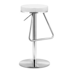 Zuo Modern - Zuo Modern Soda Modern Barstool X-152003 - The Soda barstool has an adjustable stainless steel frame and a plush seat wrapped in either black, white or espresso leatherette. Stay nostalgic with our Soda barstool.