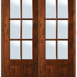 """Prehung French Double Door 96 Alder 3/4 Lite 6 Lite TDL Glass - SKU#ED8355-G-TDE166 IGBrandGlassCraftDoor TypeFrenchManufacturer Collection6 Lite French DoorsDoor Model6 LiteDoor MaterialWoodWoodgrainKnotty AlderVeneerPrice3750Door Size Options  +$percentCore TypeDoor StyleDoor Lite Style3/4 Lite , 6 LiteDoor Panel Style2 PanelHome Style MatchingDoor ConstructionTDLPrehanging OptionsPrehungPrehung ConfigurationDouble DoorDoor Thickness (Inches)1.75Glass Thickness (Inches)Glass TypeDouble GlazedGlass CamingGlass FeaturesLow-E , Tempered ,  Low-E , BeveledGlass StyleGlass TextureClearGlass ObscurityNo ObscurityDoor FeaturesDoor ApprovalsWind-load Rated , SFI , TCEQ , AMD , NFRC-IG , IRC , NFRC-Safety GlassDoor FinishesDoor AccessoriesWeight (lbs)719Crating Size25"""" (w)x 108"""" (l)x 52"""" (h)Lead TimeSlab Doors: 7 Business DaysPrehung:14 Business DaysPrefinished, PreHung:21 Business DaysWarrantyOne (1) year limited warranty for all unfinished wood doorsOne (1) year limited warranty for all factory?finished wood doors"""