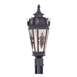 Livex Lighting - Livex Lighting 2194 1 Light 100W Post Light - 1 Light 100W Post Light with Medium Bulb Base and Antique Honey Linen Glass from Berkshire SeriesProduct Features: