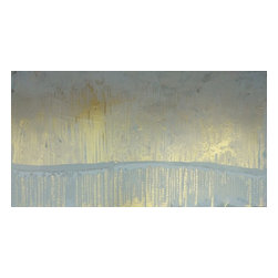 """Pontchartrain Series: """"Gold Fog"""" by Austin Allen James, 12x16 - From his Pontchartrain Series, Austin Allen James brings us """"Gold Fog."""" This hazy abstract painting evokes a misty morning looking out across a watery horizon. Subtle layers of sky blue and metallic gold invite movement and lyricism to the piece, for which the artist is well known. This mixed media painting on board is coated with a resin clear coat to preserve and enhance the complex layers of this one of a kind abstract. The glossy surface invites the viewer to experience the artwork """"through a looking glass."""" This tranquil and meditative painting can easily serve as the foundation of a well appointed roomscape. Choose the """"Gold Fog"""" style in the size of your choosing, with a 2"""" depth. Each painting is made to order; inherent variations make each piece it's own unique treasure. Learn more about the artist in his feature as a Moss Manor 2014 Guest Curator."""