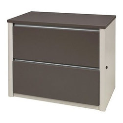 Bestar - Connexion Lateral Filing Cabinet - You'll appreciate the practicality and contemporary style of the Connexion Lateral Filing Cabinet in your home or office. This durable filing cabinet and hutch are constructed from sturdy hardwood and feature a 1-inch commercial grade work surface with a melamine finish which protects against scratches burns and stains. The filing cabinet has two spacious drawers that feature the European legal/letter filing system and slide on full-extension ball-bearing glides. The hutch has one large flip-up door with two paper shelves beneath.