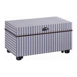 """Stein World - Stein World Ticking Trunk - Features a unique blue and white """"Ticking"""" fabric on a wood frame with nail head trim"""
