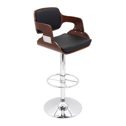 "Lumisource - Fiore Bar Stool, Cherry/Black - 19"" L x 19.5"" W x 38 - 43"" H"