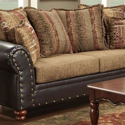 Chelsea Home - 92 in. Traditional Sofa with Toss Pillows - Fringe, multi-pattern contrasting pillows. Sofa in bi-cast brown fabric over high-density cover. Pillow in radar mocha cover. Seating comfort: Medium. Plush, rolled arms. Dacron wrapped foam reversible seat cushions. Zippered cushions. 8.5 gauge medium loop sinuous springs spaced 5 in. apart. 1.8 density foam with 0.75 of fiber wrapping. Nail head trim. Fabric contains: 32% polyester, 68% polyester propylene. Made from mixed hardwoods and plywood. Made in USA. No assembly required. Seat: 68 in. L x 25.5 in. W x 22 in. H. Overall: 92 in. L x 34 in. W x 36 in. H (165 lbs.)The Chelsea Home Furniture Laverne Collections brings sense of Victorian elegance to any living room area. This beautiful set, by Chelsea Home Furniture, epitomizes Chelseas legendary reputation for quality and comfort.