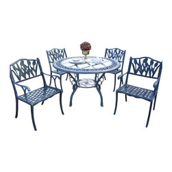 """Oakland Living - Oakland Living Mississippi 48"""" Glass Top Tulip 5-Piece Dining Set in Verdi Gray - Oakland Living - Patio Dining Sets - 201610125VGY - About This Product:"""