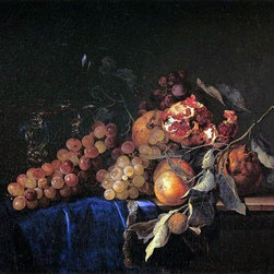 "Willem Van Aelst Still-Life with Fruit and a Crystal Vase   Print - 16"" x 24"" Willem Van Aelst Still-Life with Fruit and a Crystal Vase premium archival print reproduced to meet museum quality standards. Our museum quality archival prints are produced using high-precision print technology for a more accurate reproduction printed on high quality, heavyweight matte presentation paper with fade-resistant, archival inks. Our progressive business model allows us to offer works of art to you at the best wholesale pricing, significantly less than art gallery prices, affordable to all. This line of artwork is produced with extra white border space (if you choose to have it framed, for your framer to work with to frame properly or utilize a larger mat and/or frame).  We present a comprehensive collection of exceptional art reproductions byWillem Van Aelst."