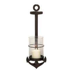 Brown Polished Durable Metal Glass Wall Sconce - Description: