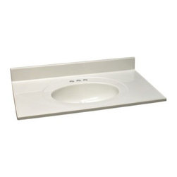 Design House 49W x 19D in. Cultured Marble Integral Sink Vanity Top - The Design House 49W x 19D in. Cultured Marble Integral Sink Vanity Top will undoubtedly bring convenience and style to your bathroom. Ready to accommodate most vanities in its class, this top is wonderful for remodeling jobs. First choose from a variety of great color options that compliment your existing décor and you're on your way to bringing your dream bathroom to life. This vanity top is crafted from cultured marble that's as lavish as it is long-lasting. It features three pre-drilled holes to make installing a faucet easy, drip-free edges that catch excess water, and there's even a matching marble back splash! A back splash gives your bathroom a more finished look and serves as a terrific barrier between your wall and the vanity to prevent any mold and water damage. Lastly, a 6-inch oval bowl is fully integrated into the top and that not only looks marvelous, but it makes installation a whole lot easier! The Cultured Marble Single Sink Vanity Top is compliant with CSA, cUPC, and ANSI industry standards and is backed by a 5-year limited warranty that protects against defects in materials and workmanship.About Design HouseWith Design House, you can design with your whole house in mind. Design House's range of home decor products boasts several categorizations that easily coordinate every room in your home. WholeHouse encompasses complete home packages that coordinate finish and style across major product categories, and TruMatch ensures matching finishes across all product categories. Design House's products meet rigorous industry standards, too, so you can feel as safe as you do stylish at home.