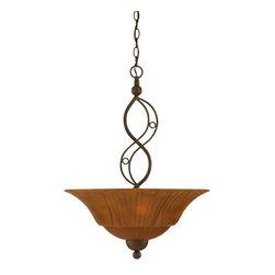 "Toltec - Toltec 234-BRZ-53819 Bronze Finish 3 Bulb Uplight Pendant with 20"" Tiger Glass - Toltec 234-BRZ-53819 Bronze Finish 3 Bulb Uplight Pendant with 20"" Tiger Glass"
