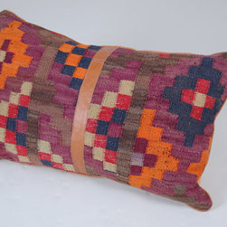 Kilim Cushion Cover from Afghanistan by Nomad Living - This vintage kilim cushion is enhanced with a leather stripe in the middle and is perfect for ethnic stylings.