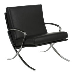 Eurostyle - Pietro Lounge Chair-Blk/Chrm - Upholstered in soft, genuine leather