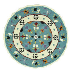Loloi Rugs - Loloi Rugs Gardenia Collection - Teal / Ivory, 3' Round - Like a vase of flowers in full boom, Gardenia adds a little pop of color that brings life to your entire home. Hand-tufted in India of 100% wool, Gardenia comes in lovely, easy-to-place 3 foot round rugs with cute shaped borders - perfect for refreshing the kitchen, entryway, bedroom, bathroom, or just any area in need of a colorful pick-me-up.