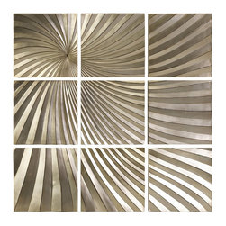 IMAX Corporation - Imax Corporation Mukkara Leaf 9 Panel Wall Decor - Imax Corporation - Wall panels / Plaques - 1494 - The Mukkara Leaf 9-Panel Wall Decor from Imax Corporation is a dramatic play on abstract dimensional art in a serene metallic gold finish.