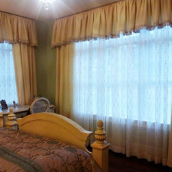 Everything Fabric - Romantic looking window treatment with rope detail cording on top of valance with bullion fringe on bottom. Interlined, plush side panels and light, embroidered, sheer under curtain