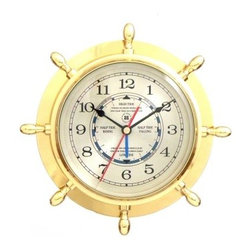 Bey-Berk International Brass Ships Wheel Tide/Time Clock - Tarnish Proof - Time seems to ebb more luxuriously, with a Bey-Berk International Brass Ships Wheel Tide/Time Clock T.P.. Fun and functional, this metal clock is easy to read and runs on batteries to power the analog quartz-movement - and you'll appreciate the easy care of the solid brass, tarnish-proof bezel.About Bey-Berk InternationalThis quality item is created by Bey-Berk. For more than 20 years, Bey-Berk International has crafted and hand-selected unique gifts and accessories from around the world to meet the demands of discerning customers. With its line of elegant and distinctive products, Bey-Berk has established itself as a leader in luxury accessories.
