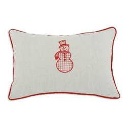 Chooty and Co Linen Natural Red Snowman Embroidered Throw Pillow - The Chooty and Co Anderson Natural Red Snowman Embroidered Throw Pillow provides a soft and warm welcome to winter guests. Perfect for guest bedrooms or your sofa, this decorative pillow features a natural khaki color background with holiday red trim. It's embroidered with a cute snowman for seasonal charm. This pillow is crafted of 100% cotton with a thick hypoallergenic poly fill.About Chooty & Co.A lifelong dream of running a textile manufacturing business came to life in 2009 for Connie Garrett of Chooty & Co. This achievement was kicked off in September of '09 with the purchase of Blanket Barons, well known for their imported soft as mink baby blankets and equally alluring adult coverlets. Chooty's busy manufacturing facility, located in Council Bluffs, Iowa, utilizes a talented team to offer the blankets in many new fashion-forward patterns and solids. They've also added hundreds of Made in the USA textile products, including accent pillows, table linens, shower curtains, duvet sets, window curtains, and pet beds. Chooty & Co. operates on one simple principle: What is best for our customer is also best for our company.