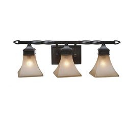 Golden Lighting - Genesis Vanity - Turn, turn, turn. From the twist in the wrought-iron support to the gentle spiral of the geometric shades, you'll love the curves on this classic vanity light fixture.