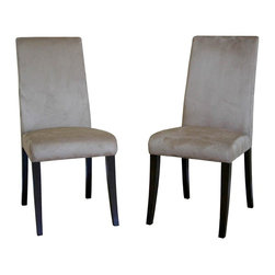 Wholesale Interiors - Baxton Studio Cream Microfiber Dining Chair i - Constructed of durable wooden frame. Made from Microfiber and Wood veneer. Minimal assembly required. Seat: 18.5 in. H. Overall: 17.5 in. W x 18.5 in. L x 37.75 in. H (62 lbs.)This micro fiber dining chair has clean lines that are also soft and comfortable. Its simple structure and neutral color make it an easy fit into any contemporary setting. Chair constructed with hardwood frame with extra thick high density foam padding and a rubber webbing interior support system for added comfort. Leg constructed with solid rubber wood with luxurious wenge veneers finish completes with elegant smooth, clean lines design. The perfect combination of quality craftsmanship with simple and sophisticated designs, giving you furniture that will instantly enhance your dining room decor. Feel free to match these with your dining room or dinettes. The padding of the seat and back offer maximum comfort and elegant style that surely brings casual modernity to any room.