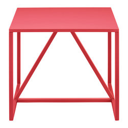 Blu Dot - Blu Dot Strut Side Table, Watermelon - Structure and design are one with the Strut. A proud stance for any gathering. Choose ivory for a subtle impact. For more punch power choose slate or watermelon. Powder-coated steel frame with a durable polyurethane finish over MDF for the top. Lacquer on engineered wood substrate with glossy polyurethane finish, Powder-coated steel legs