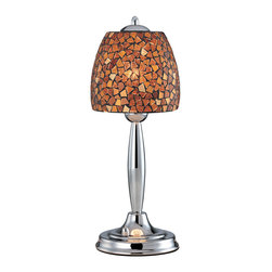 Lite Source - Lite Source LS-20485AMB/MOS Musoke 1 Light Table Lamps in Chrome - Table Lamp, Chrome/Amber Mosaic Shade, Type B 60W