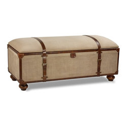 "Sarreid Ltd - Canvas Trunk Bench by BSEID - As handsome as it is functional ! How about this at the foot of a bed or below a window? Store linens or whatever, and have a spot to sit. Natural canvas tightly adheres to a wood trunk with the top well padded. Leather strapping and corners navigate to an authentic steamer trunk appearance. Opens to a spacious storage area. (SAR) 48"" wide x 16"" deep x 20"" high"