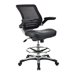 "Modway - Edge Drafting Stool in Black - Welcome to a new era in functional comfort. The Edge office chair combines old time charm with cutting edge ergonomics to deliver one comprehensive seating experience. Every feature imaginable in a chair is available as soon as you sit down. This is a chair that you can conform to behave exactly how you need it. The Edge Office Chair G�� giving you the comfort you need when you need it most. This drafting version is perfect for those who need or prefer more height to relieve back strain while performing tasks. Includes: One - Edge Office Drafting Chair with Foot Ring, Mesh Back and Black Leatherette Seat; Breathable mesh back; Sponge seat covered with black leatherette; Seat tilt with tension control; Adjustable Seat Height; Chrome foot ring; Flip-up padded arms; Dual-Wheel Casters; Dimensions: 29.5""L x 28.5""W x 39 - 45""H; Armrest Height: 28.5 - 34.5""H; Seat Height: 20.5 -26""H; Back Height: 22""H"