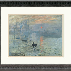Amanti Art - Impressions at Sunrise, 1873 Framed Print by Claude Monet - Claude Monet is considered the archetypal Impressionist, with his devotion to painting the transient effects of light and color en plein air throughout his long career.