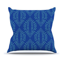 """Kess InHouse - Anneline Sophia """"Laurel Leaf Blue"""" Navy Floral Throw Pillow (Outdoor, 16"""" x 16"""") - Decorate your backyard, patio or even take it on a picnic with the Kess Inhouse outdoor throw pillow! Complete your backyard by adding unique artwork, patterns, illustrations and colors! Be the envy of your neighbors and friends with this long lasting outdoor artistic and innovative pillow. These pillows are printed on both sides for added pizzazz!"""