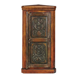 Home Decorators Collection - Kingwood Corner Cabinet - Meticulously crafted of high-quality materials, the Kingwood Corner Cabinet will remain a favorite part of your decor for years to come. Made of century-old, reclaimed wood and specially treated with natural oils, every cabinet is unique and no two are ever exactly alike. Add the extra storage space and the lasting style of this piece to your home today. Crafted of reclaimed wood and finished with natural oils. Door is painted with natural dyes to complete the distinctive look.