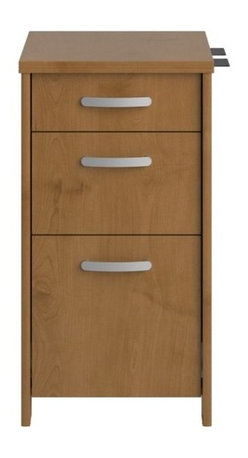 """Bush - Envoy Three Drawer File Cabinet in Natural Cherry - Professional-grade Envoy offers a contemporary flair for today's office. With the highly configurable Envoy collection, you can start with one desk, but still have freedom to expand easily and efficiently as your needs change. Features: -File cabinet. -Envoy collection. -Natural cherry finish. -Three drawer with full extension. -Two 0.75"""" extension box drawers hold miscellaneous supplies. -Smooth ball bearing drawer slides. -Thermally fused. -Accommodates letter and legal sized files. -Laminate top surface for added durability. -Grooved edge banding resists dents. -Wire management grommets with cable covers. -Assembly required. -Made in USA. -Manufacturer provides 6 years warranty for replacement parts. -Dimensions: 30.2"""" H x 15.98"""" W x 20"""" D."""