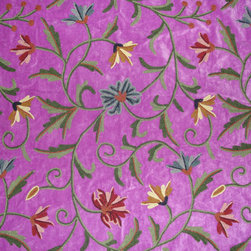Crewel Fabric Susan Energy Purple Cotton Velvet- Yardage - Artisans in a remote mountain village in Kashmir crewel stitch these blossoms, vines and leaves by hand, resulting in a lush pattern of richly shaded wool yarns on Linen, Cotton, Velvet and Silk.