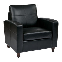 Office Star - OSP Furniture Lounge Seating SL2811-EC3 Black Eco Leather Club Chair w/ Espresso - SL2811-EC3 Black Eco Leather Club Chair With Espresso Finish Legs belongs to Lounge Seating Collection by OSP Furniture Series Osp Furniture Black Eco Leather Club Chair With Espresso Finish Legs Club Chair (1)