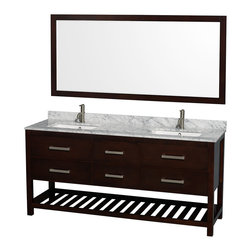 "Wyndham Collection - 72"" Natalie Espresso Double Vanity w/ White Carrera Marble Top & Square Sink - Classic yet elegantly modern, the Natalie bathroom vanity is a bold statement and a meaningful centerpiece for any bathroom. Inspired by the contemporary American design ethic and crafted without compromise, these vanities are designed to complement any decor, from traditional to minimalist modern."
