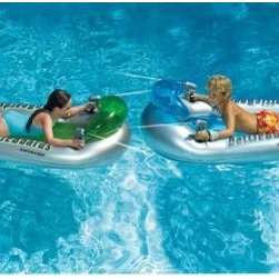 Swimline Battle Board Squirter Set - This unique Swimline Battle Board Squirter Set allows your kids to float comfortably on the water while waging some imaginary warfare on the high seas -- or at least your backyard pool! The set comes with two of the inflatable battle boards that contain two built-in water guns that feature constant water streaming. Weight capacity is 175 pounds.About SwimlineFamily owned and operated since 1971, Swimline has grown to be the largest manufacturer of above-ground swimming pool liners in the world. They're also the largest importer of in-ground and above-ground swimming pool covers and related accessories. Swimline founded International Leisure Products in 1990, branching out to pool toys, games and accessories. They grew once again in 1994 when Leisure Products acquired United Leisure Industries Hydrotools Inc., an manufacturer of pool accessories like leaf skimmers, brushes and vac heads.