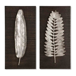Uttermost - Uttermost Silver Leaves Wall Art (Set of 2) - Uttermost Silver Leaves is a Part of Billy Moon Designs Collection by Uttermost These decorative wall plaques feature brushed aluminum leaves with wood backing that is finished in a distressed, dark ebony stain. Metal Wall Art (2)