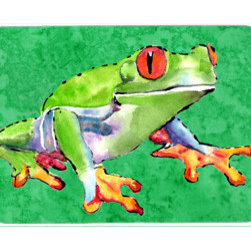Caroline's Treasures - Frog Kitchen Or Bath Mat 24X36 - Kitchen / Bath Mat 24x36 - 24 inches by 36 inches. Permanently dyed and fade resistant. Great for the Kitchen, Bath, outside the hot tub or just in the door from the swimming pool.    Use a garden hose or power washer to chase the dirt off of the mat.  Do not scrub with a brush.  Use the Vacuum on floor setting.  Made in the USA.  Clean stain with a cleaner that does not produce suds.