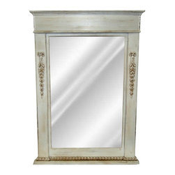Hickory Manor House - Classic Vanity Mirror in Old World White Fini - Made in U.S.A.. 30.5 in. W x 43 in. H. 22lbs.