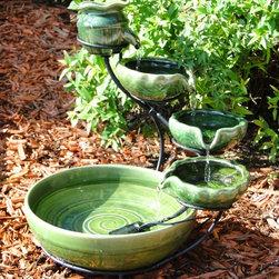 Outdoor Classics - Green Ocean Ceramic Cascade Solar Fountain -