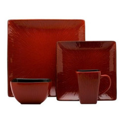 Red Vanilla Crimson Red 16 pc. Square Dinner Set - Even if you're just loving some mac-n-cheese with hot dogs, everything takes on an exciting new flavor with the Red Vanilla Crimson Red 16 pc. Square Dinner Set. This radiant set of four stoneware place settings includes a dinner plate, salad plate, mug, and bowl. Each piece features a rich, red finish and is safe for use in the dishwasher or microwave.