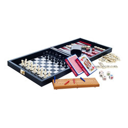 Trademark Games - Travel Multi Game Set with Case - Games Include: Chess, Checkers, Backgammon, Cribbage, Dominoes, Playing Cards and Poker Dice. Magnetic Gaming Surface and Chess/Checker/Backgammon Pieces. King Height: 1.375 inches. Chess/Checker Board: 7 in. L x 7 in. W. Backgammon Board: 9.5 in. L x 8.125 in. W. Open: 9.125 in. L x 21.5 in. W x 1 in. H. Closed: 9.125 in. L x 10.625 in. W x 2 in. H