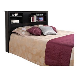 Prepac - Nicola Black Full/Queen-size Storage Headboard - Keep your alarm clock,nighttime reading,and other necessities handy with this bookcase storage headboard featuring fitted doors with six-way adjustable self-closing hinges. The deep-black laminate finish adds style and is easy to clean.