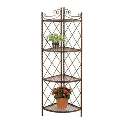 Deer Park Ironworks XXX Corner Rack Plant Stand - Beautiful and elegant, the Deer Park Ironworks XXX Corner Rack Plant Stand allows you to display your favorite flowers and plants in sophisticated style. Three shelves topped with glass show off your plants while the delicate details perfectly complements the natural beauty of your backyard. Its classic elegance also makes this a beautiful addition inside your home. Made from durable, heavy gauge metal with a baked-on, powder-coated finish which helps to protect it from the elements.About Deer Park Ironworks, LLCYou'll immediately recognize a yard that's been appointed with pieces from Deer Park, thanks to the classic wrought iron designs and traditional finish that has made them an power player in the outdoor furniture industry. Dedicated to creating value for their customers with durable, quality pieces of functional and ornamental wrought iron, Deer Park continues to provide timeless designs while never sacrificing customer service and satisfaction as their pursue their corporate goals.