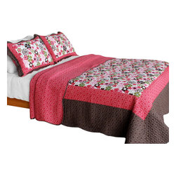 Blancho Bedding - [Candy Floral] Cotton 3PC Vermicelli-Quilted Patchwork Quilt Set (Full/Queen) - Set includes a quilt and two quilted shams. Shell and fill are cotton. For convenience, all bedding components are machine washable on cold in the gentle cycle and can be dried on low heat and will last you years. Intricate vermicelli quilting provides a rich surface texture. This vermicelli-quilted quilt set will refresh your bedroom decor instantly, create a cozy and inviting atmosphere and is sure to transform the look of your bedroom or guest room. Dimensions: Full/Queen quilt: 90 inches x 98 inches. Standard sham: 20 inches x 26 inches.