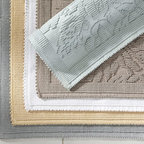 Isaac Floral Sculpted Bath Rug - Tone-on-tone florals bring in a subtle feeling of spring.