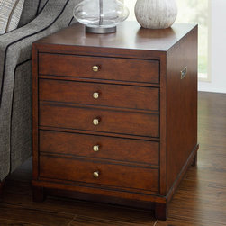 "Hammary - Modern Lodge Rectangular Drawer End Table - ""A modern adaptation of Campaign styled furniture with lots of storage and faux dovetail construction. The Modern Lodge collection has multiple pieces to fit any home. Crafted of Birch Solids with Antique Cherry & Mahogany Veneers in a Rustic Cherry finish with brass hardware."