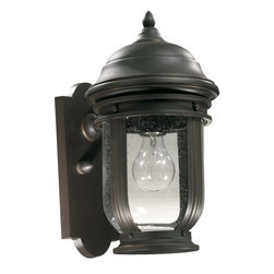 Quorum Lighting - Quorum Lighting Summit Transitional Outdoor Wall Sconce X-59-1-0817 - A unique design that blends subtle modern influences with classic European flair ensures that this Quorum Lighting outdoor wall sconce will compliment a variety of outdoor settings. From the Summit Collection, it features a stylish Old World finish that pairs beautifully with the clear seeded glass shade.